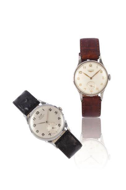 Lot de deux montres bracelet en acier, mouvements...