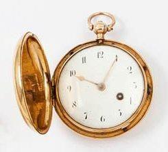 ELLICOT à LONDRES Vers 1780 Montre à coq savonnette en or. Boîtier rond. Cadran émail...