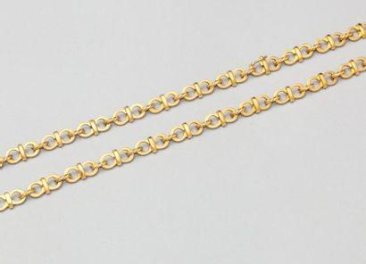 Collier en or jaune à maillons double. P. 76,1g