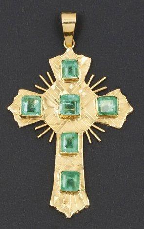 Pendentif «croix «en or jaune 14K orné de...