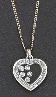 Chaîne et pendentif «Coeur» en or gris orné...