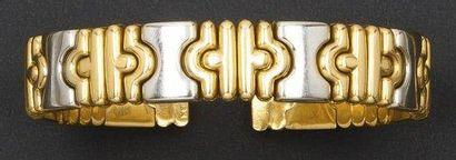 Bracelet jonc en or de deux couleurs à motifs...
