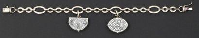 Bracelet articulé en or gris orné de deux...