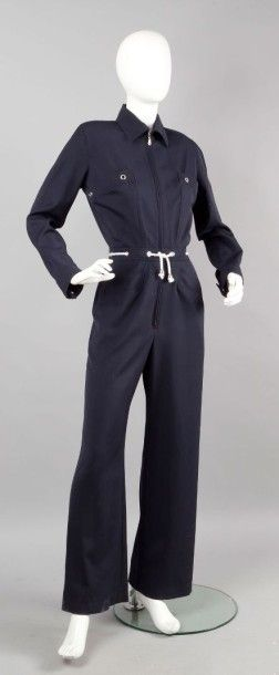 MTM pour MUGLER Trademark Combinaison pantalon en gabardine de laine marine, petit...