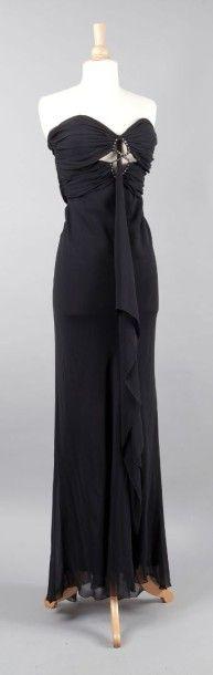 BAIN de NUIT par Chantal Temam circa 2010/2011 Robe longue en mousseline noire, haut...