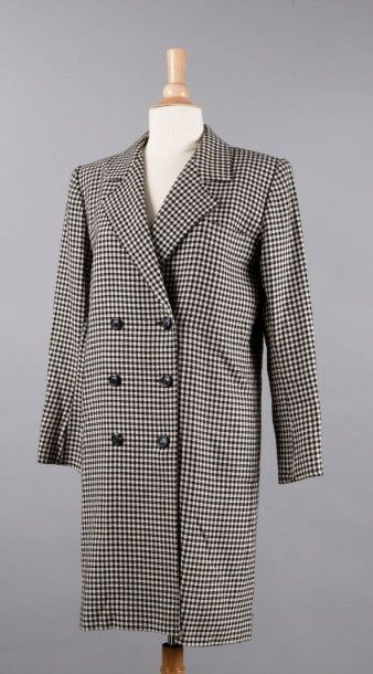SAINT LAURENT Rive Gauche Robe- manteau en lainage pied de poule noir et blanc, col...
