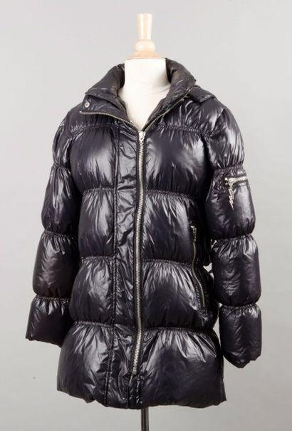 FAITH Doudoune en nylon et polyester noir matelassée horizontalement à capuche amovible,...