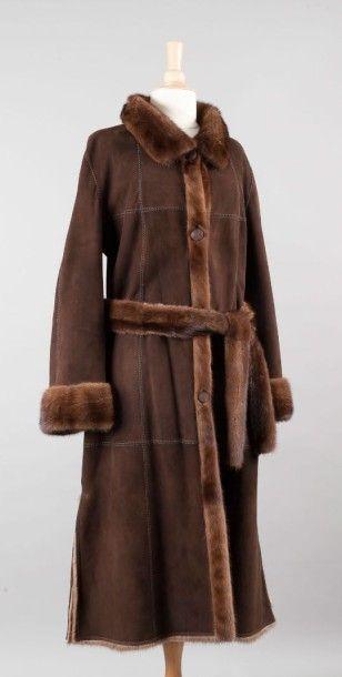 Manteau en envers daim marron et Vison scanbrown...