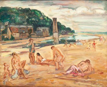 Emile Othon Friesz (1879-1949) Baigneuses sur la plage «Le Mont Joli», Honfleur Huile...