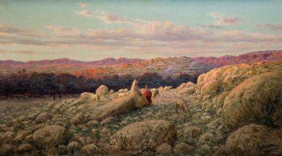 Antoine GADAN (1854-1934) Beni Ferrah au coucher de soleil Huile sur toile, signée...
