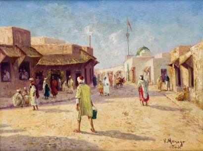 Vincent MANAGO (1880-1936) Rue animée à Tunis Huile sur toile, signée et située «...