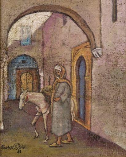 Ammar FARHAT (1911-1986) Le muletier dans la ruelle Huile sur toile marouflée sur...
