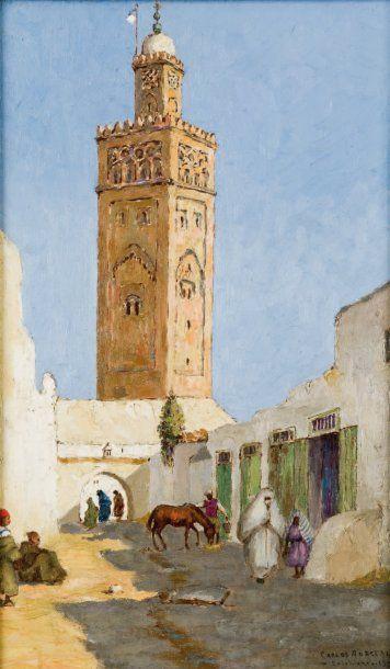 Carlos ABASCAL (né en 1909) Mosquée à Casablanca Huile sur panneau, signée en bas...