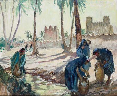 Henri PONTOY (1888-1968) Porteuses d'eau, Sud Marocain Huile sur toile, signée en...