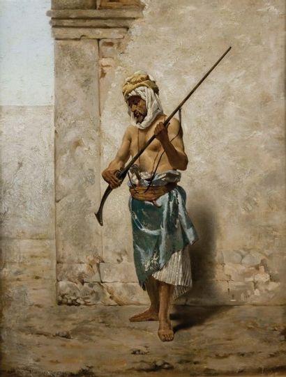 German ALVAREZ ALGECIRAS (1849-1900) Le garde du palais Huile sur toile, signée en...