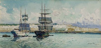 Alphonse REY (1865-1938) Bateaux devant Alger Aquarelle gouachée, signée, située...