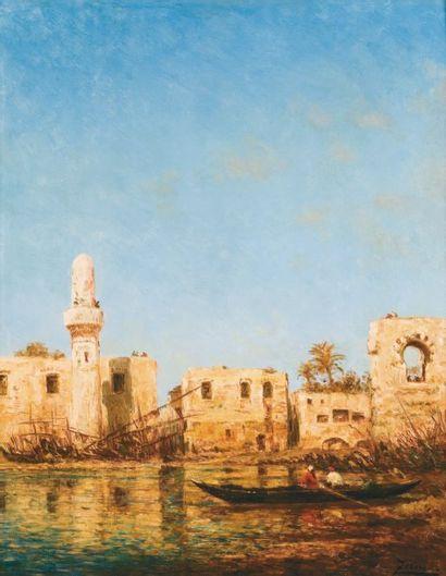 Félix ZIEM (1821-1911) Vue du port de Tripoli, Liban Huile sur panneau d'acajou,...