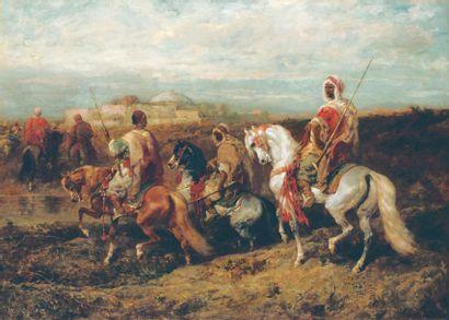Adolf SCHREYER (1828- 1899) Chef arabe et sa troupe Huile sur toile, signée en bas...