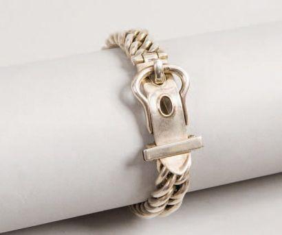 HERMÈS Paris *Bracelet «ceinture» en argent...