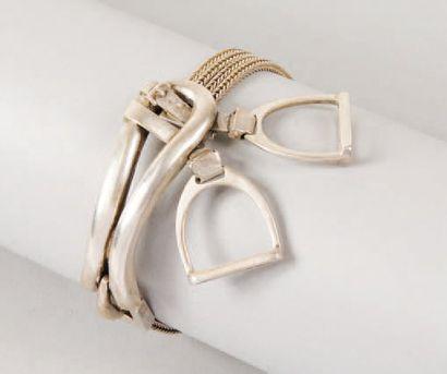 HERMÈS Paris *Bracelet ceinture en argent...