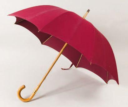 HERMÈS Paris *Parapluie en toile bordeaux,...