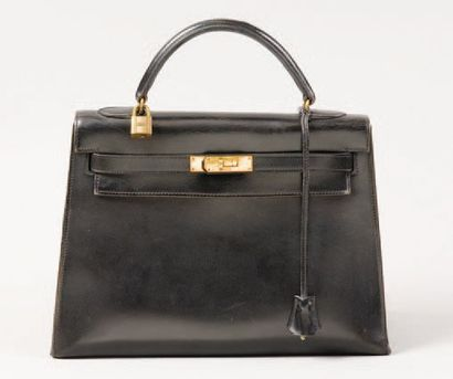 HERMÈS Paris *Sac «Kelly» 32cm en cuir noir,...