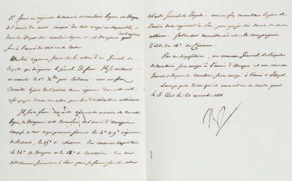 nouveaux régiments. Lettre signée Nap., adressée...
