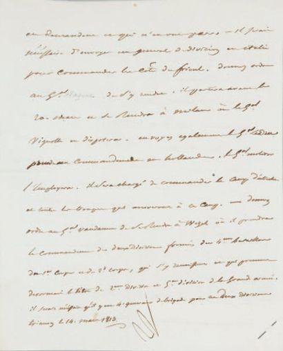 Désignation de généraux. Lettre signée N.,...