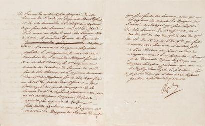 Régiment de marche de Cavalerie. Lettre signée...