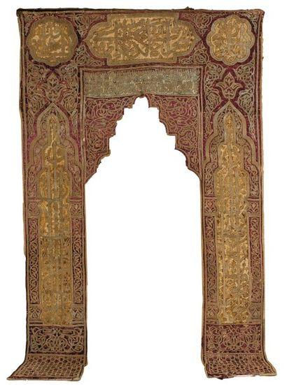 Portière de Mosquée brodée en fils métalliques...