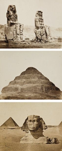 Wilhelm Hammerschmidt (actif c. 1855-1875) Egypte, c. 1865. Sphinx et troisième pyramide...