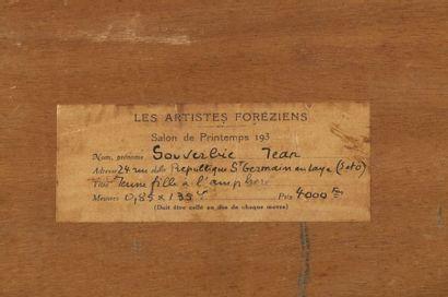 Jean SOUVERBIE (1891-1981) Jeune femme à l'amphore Huile sur panneau, signée en bas...