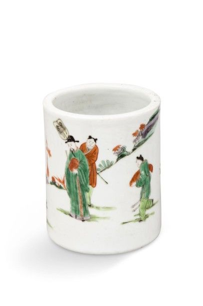 Porte-pinceaux bitong en porcelaine et émaux...