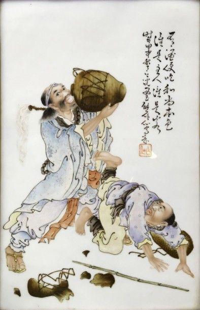 Xiong Zuoxian (XXème) Panneau en porcelaine...