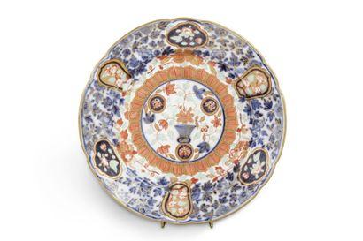 Assiette en porcelaine émaillée bleu, corail...