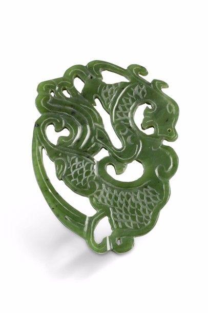 Pendentif en jade vert épinard, représentant...