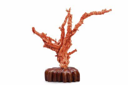 Groupe en corail rouge représentant une déesse...
