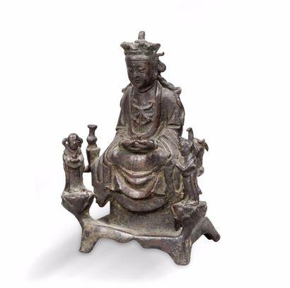 Sujet en bronze représentant un dieu du Tao...