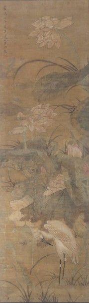 Peinture à l'encre et couleurs sur soie,...
