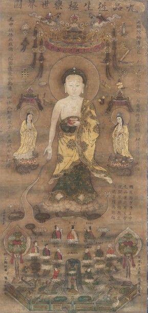 Peinture bouddhique à l'encre et couleurs...