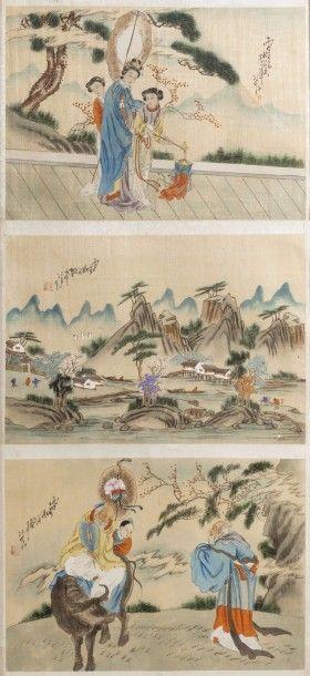 Ensemble de six petites peintures en couleurs...