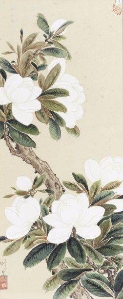 Peinture en polychromie sur papier, représentant...