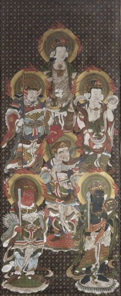 Peinture bouddhique en polychromie, représentant...