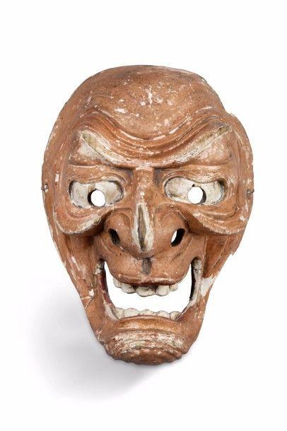 Masque de théâtre en bois sculpté polychrome,...