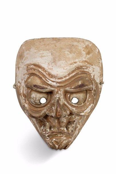 Petit masque de théâtre en bois sculpté laqué...