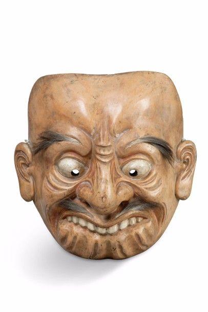 Grand masque de théâtre ou cérémonie en bois...