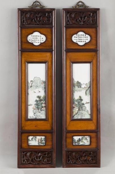 Chine, début XXe siècle Deux panneaux en...