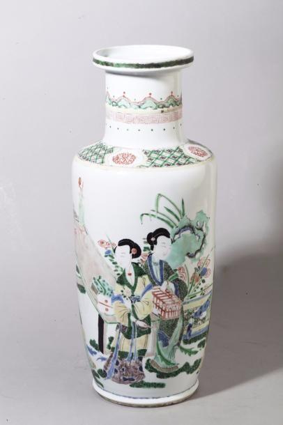 Chine, époque Guangxu Vase rouleau en porcelaine...