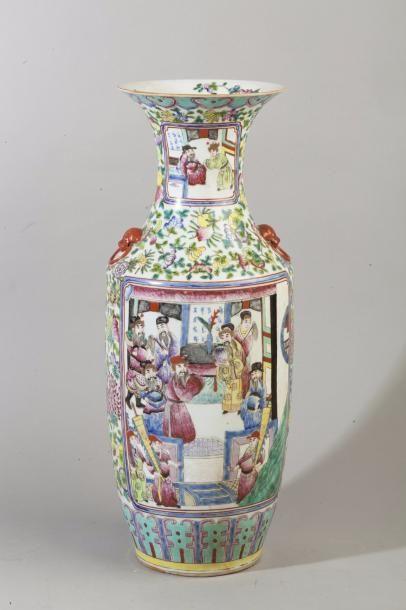 Chine, XXe siècle Grand vase balustre en...