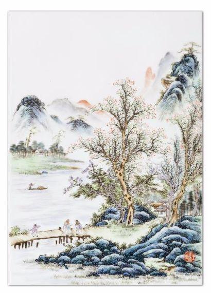 Chine, début XXe siècle Plaque en porcelaine...